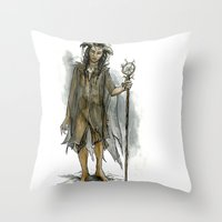 tina fey Throw Pillows featuring death fey by laya rose