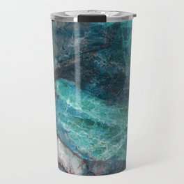 Cerulean Blue Marble Travel Mug