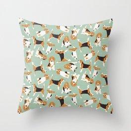beagle scatter mint Throw Pillow