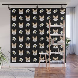 Corgi welsh corgi daisy flowers spring summer florals dog breed pet portrait by pet friendly Wall Mural