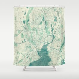 New Haven Map Blue Vintage Shower Curtain