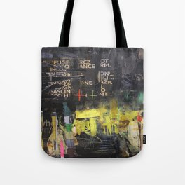 Black and yellow collage Tote Bag
