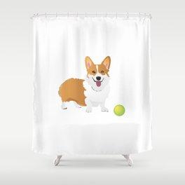 Corgi Dog with a Green Ball Shower Curtain