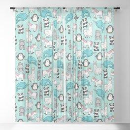 Narwhal,Unicorn, Panda, Llama, Penguin, Hippo, Animal Print For Girls Sheer Curtain
