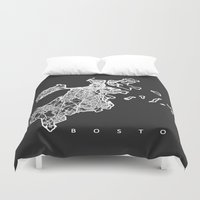 boston map Duvet Covers featuring BOSTON MAP by Nicksman