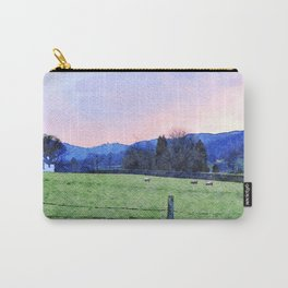 Sheep on the farm at Dawn in Grasmere,Lake District, UK Watercolour Painting Carry-All Pouch
