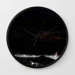 Boy and Girl playing in the waves Wall Clock