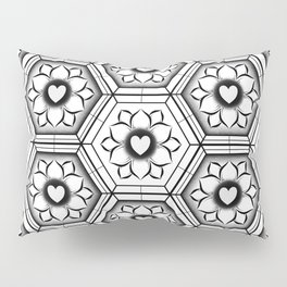 Hearts with floral and hexagonal geometric pattern Pillow Sham