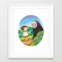 chihiro Framed Art Prints featuring Chihiro and No-Face by MTerrenal