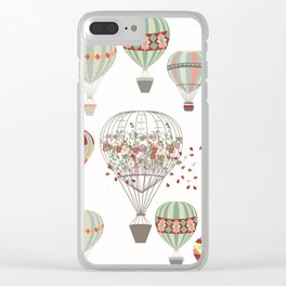 Adventures. Illustration with air balloons in vintage hipster style Clear iPhone Case