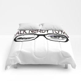 Talk Nerdy To Me Geek Glasses Winking Eye Purple Shadow Comforters