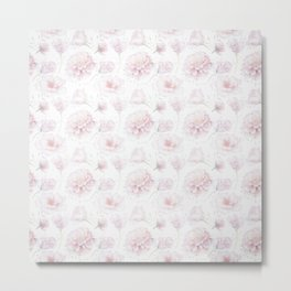 Soft Pastel Pink Rose Pattern Metal Print