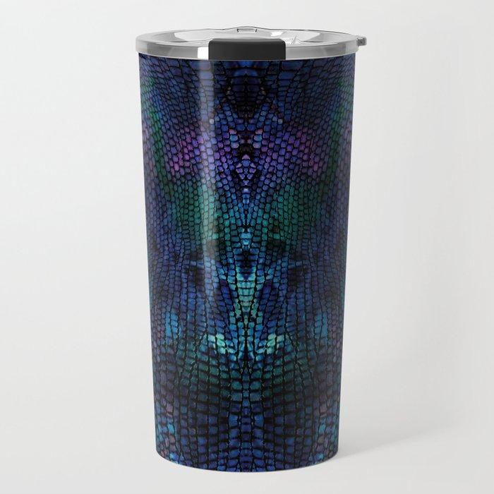 Violet snake skin pattern Travel Mug
