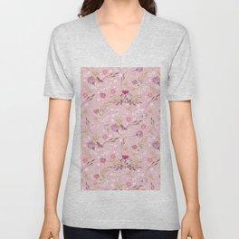 Vintage chic rose pink white red boho floral pattern Unisex V-Neck