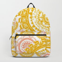 Citrus and Salmon Colored Mandala Textile Backpack