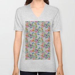 print of flowers, plants and hummingbirds Unisex V-Neck