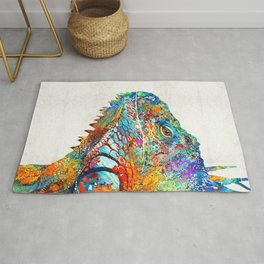 Colorful Iguana Art - One Cool Dude - Sharon Cummings Rug