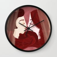 lovers Wall Clocks featuring Lovers by Pendientera