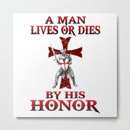 Knight Templar | Crusades Knights | Long Red Cross Metal Print