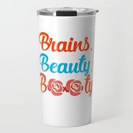 Brains Beauty Booty, Curvy Queen, Afro Hair Travel Mug
