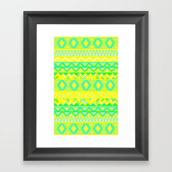 India Style Pattern (Neon) Framed Art Print