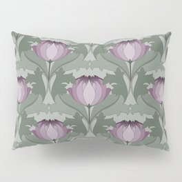 Lavender Flowers Art Nouveau Inspired Floral Pattern Pillow Sham