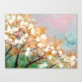 White Blossoms Floral Art Canvas Print