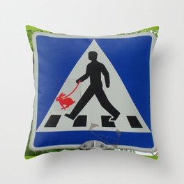 Taking Bunny for a Walk Throw Pillow