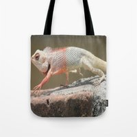 chameleon Tote Bags featuring Chameleon  by Four Hands Art
