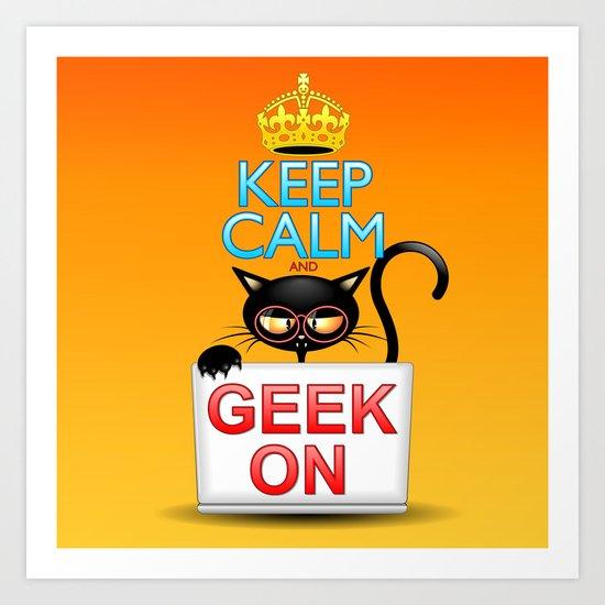 Keep Calm and Geek on! Cartoon Cat Art Print