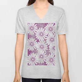 Summer Flowers Purple Unisex V-Neck