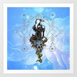 Awesome eagle with skull Art Print