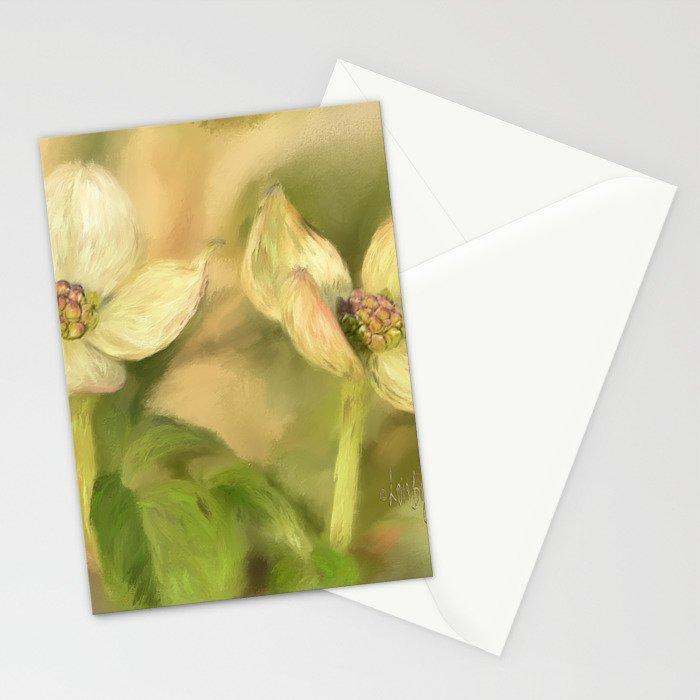 Double Dogwood Blossoms In Evening Light Stationery Cards