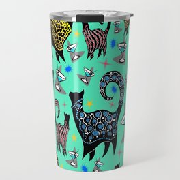 Blue Snobby Cocktail Cats Travel Mug