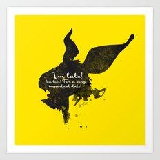 I'm late! – White Rabbit Silhouette Quote Art Print
