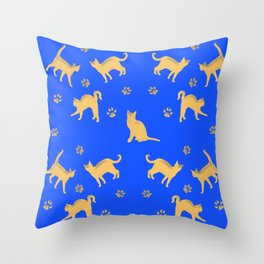 Cats on Blue Throw Pillow