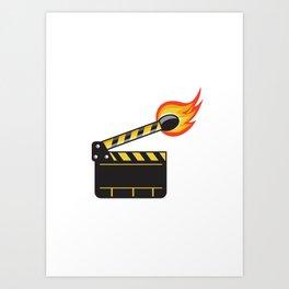 Clapper Board Match Stick On Fire Retro Art Print