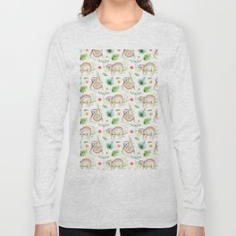 Modern hand painted green brown watercolor tropical floral sloth Long Sleeve T-shirt