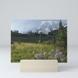 Wildflowers and Mount Rainier Mini Art Print