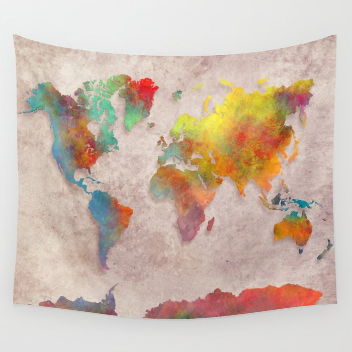 World Map colored Wall Tapestry