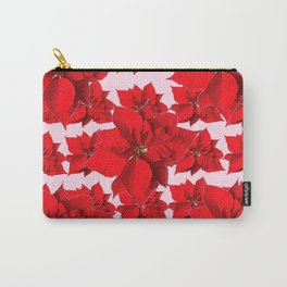 FESTIVE  RED POINSETTIA FLOWERS PINK  CHRISTMAS ART Carry-All Pouch