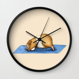 Yoguineas - Downward Facing Dog Wall Clock