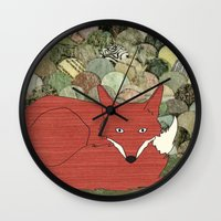 mr fox Wall Clocks featuring Mr. Fox by Elephant Trunk Studio