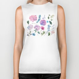 Blooming Hydrangea and garden flowers Biker Tank