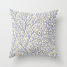 Berry Branches - Navy & Gold Throw Pillow