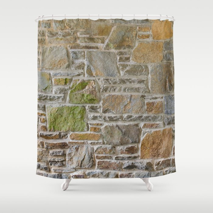 Avondale Brown Stone Wall and Mortar Texture Photography Shower Curtain