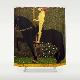 Life Is A Struggle Golden Rider Painting By Gustav Klimt Shower Curtain