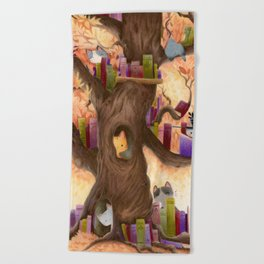 The library in the tree Beach Towel