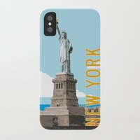 travel poster iPhone & iPod Cases featuring New York Travel Poster by Michael Jon Watt