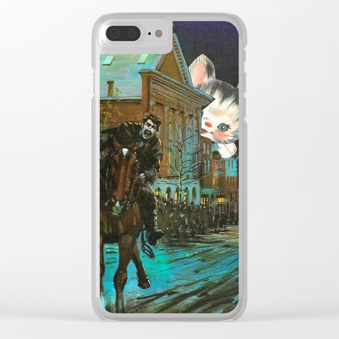 Death is cute kitten handcut collage Clear iPhone Case